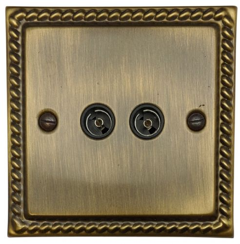 G&H MAB36B Monarch Roped Antique Bronze 2 Gang TV Coax Socket Point